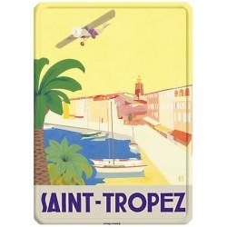 Plaque métal 15x21 - Saint Tropez L'avion (fin de série)