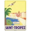 Plaque métal 15x21 - Saint-Tropez - L'avion (fin de série)