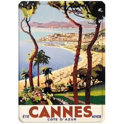 Plaque métal 15x21 - Cannes Eté hiver