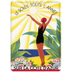 Plaque métal 15x21 - Côte d'Azur - Soleil toute l'année