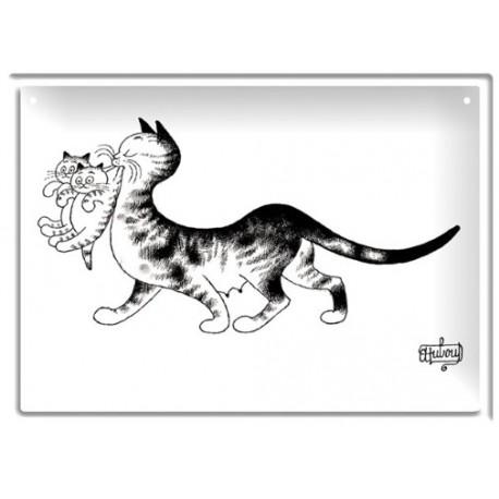 Plaque métal - Chatons en bouche - Chats Dubout