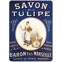 Plaque métal - Lavandière - Savon de la Tulipe Baron Fils