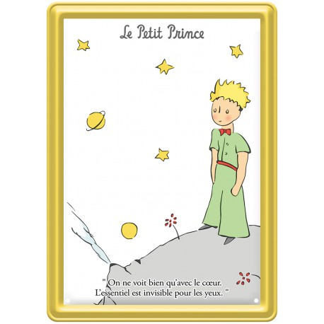 Plaque métal - Planète fond blanc - Le Petit Prince
