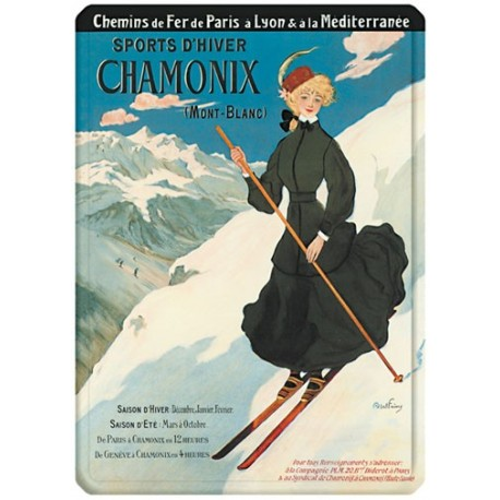 Plaque métal 15x21 - La skieuse - Chamonix