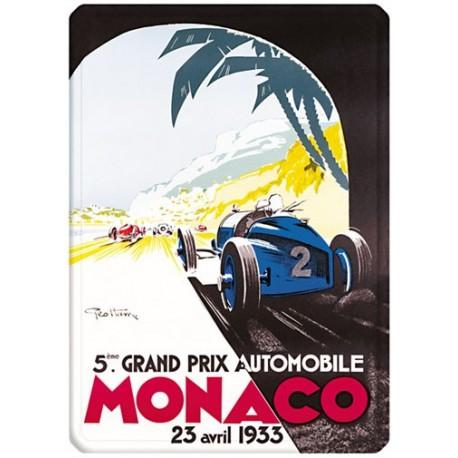 Plaque métal 15x21 - Grand Prix de Monaco de 1933