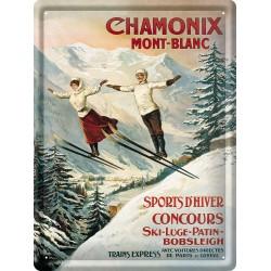 Plaque métal 30x40 - Chamonix Les deux sauteurs