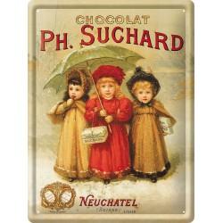 Plaque métal - Trois enfants - Chocolat Suchard