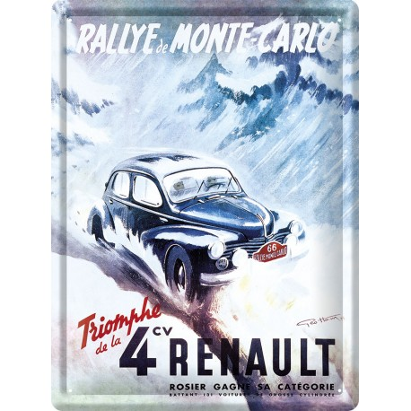 Plaque métal - Triomphe de la 4 CV - Renault