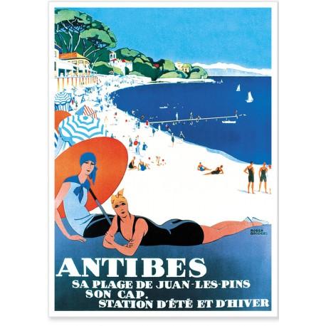 Affiche - La plage de Juan-les-Pins - PLM