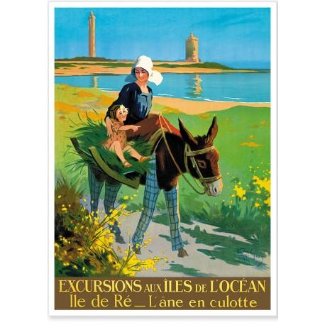 Affiche - Ile de Ré - L'âne en culotte - Réseau de l'Etat