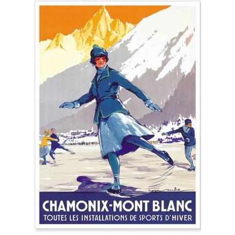 Affiche - Chamonix - La patineuse - PLM