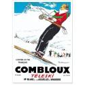Affiche - Combloux - La skieuse brune