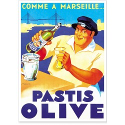Affiche - Pastis Marseille - Pastis Olive