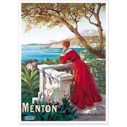 Affiche - Menton Femme au balcon