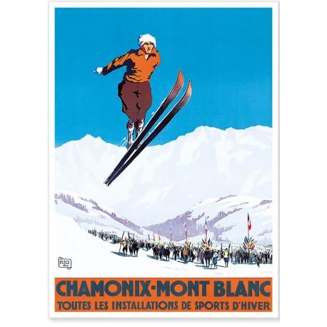 Affiche - Chamonix - Sauteur à ski - PLM