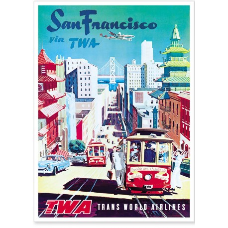 Affiche - San Francisco - Cable cars - Trans World Airlines