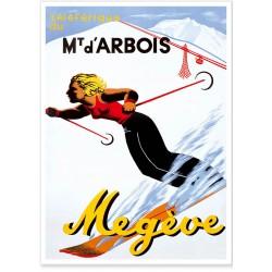 Affiche - Megève - Téléférique du Mont d'Arbois - Ville de Megève