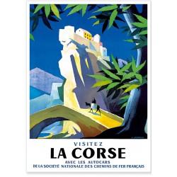 Affiche - Village de Corte en Corse - SNCF