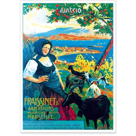 Affiche - Ajaccio - La bergère - Armateurs Fraissinet