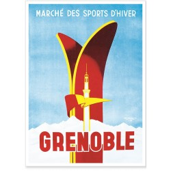 Affiche - Grenoble - Skis