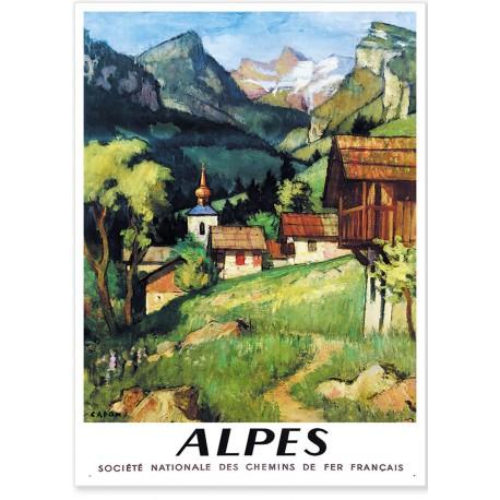 Affiche - Alpes - Village de Montagne