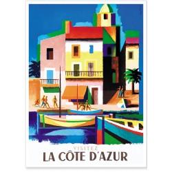 Affiche - Côte d'Azur - Facade Multicolore