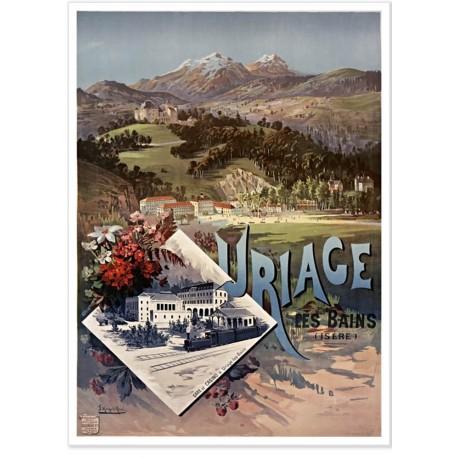 Affiche - Vue sur la ville d'Uriage - PLM