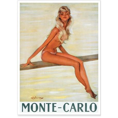 Affiche - Pin-up sur le plongeoir - Ville de Monte-Carlo