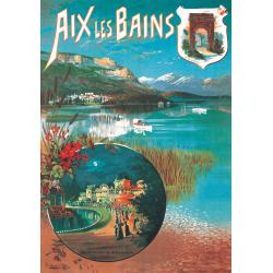 Affiche 50x70 - Lac et Casino à Aix les Bains