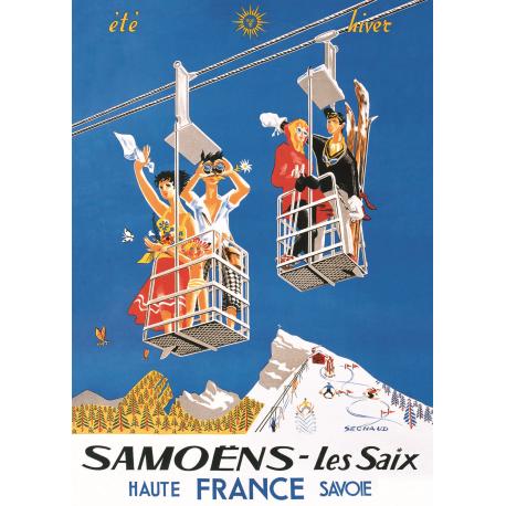Affiche 50x70 - Samoens les Saix Été Hiver