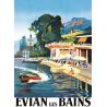 Affiche 50x70 - La plage d'Evian les Bains