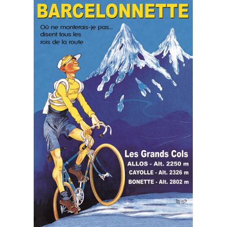 Affiche 50x70 - Barcelonnette Vélo Maillot Jaune