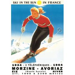 Affiche 50x70 - Ski à Morzine Avoriaz
