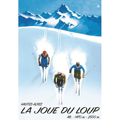 Affiche 50x70 - 3 skieurs à La Joue du Loup