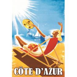 Affiche 50x70 - Bronzage sur la Côte d'Azur