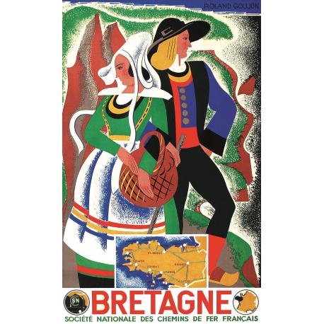 Affiche 50x70 - Habits traditionnels de Bretagne