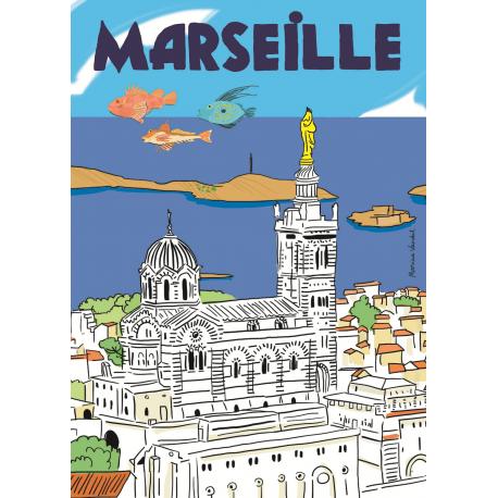 Affiche 50x70 - Marseille par Marina Vandel