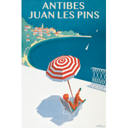 Affiche 50x70 - Sous un Parasol à Antibes