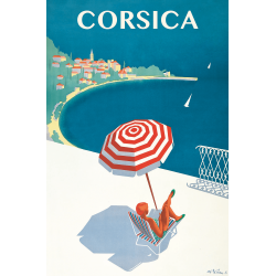 Affiche 50x70 - Sous un Parasol en Corse