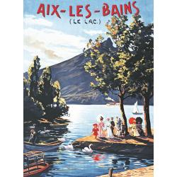 Affiche 50x70 - Balade au lac d'Aix les Bains