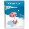 Plaque métal 15x21 - Sous un Parasol en Corse