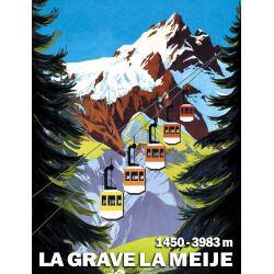 Affiche 50x70 - Téléphérique vers La Meije