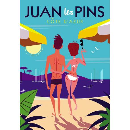 Affiche 50x70 - Sur la plage de Juan les Pins
