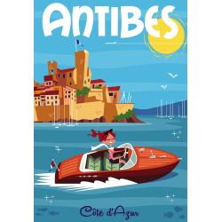 Affiche 50x70 - Balade en Bateau à Antibes
