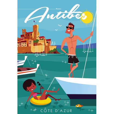 Affiche 50x70 - Jamais sans ma Bouée à Antibes