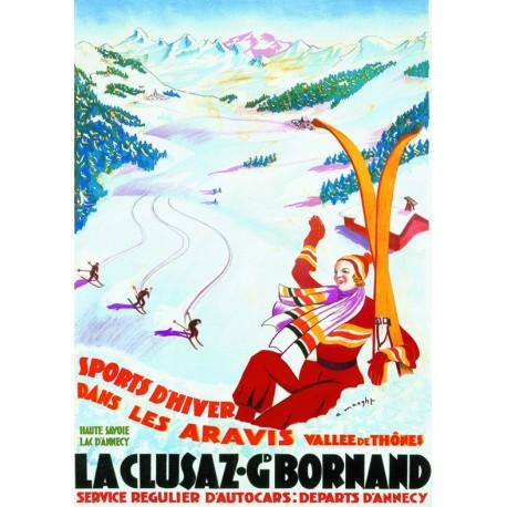 Affiche - La Clusaz - Piste de ski (fin de série) - PLM